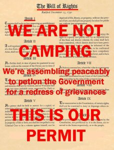 The First Amendment of the Bill of Rights guarantees the right to peaceably assemble.