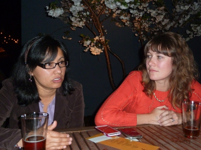 Mayra Orellana-Powell with film maker Sarah Gerber in Portland, Oregon. Photo by author.
