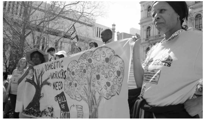 Activists fight for the Domestic Workers Bill of Rights. Photo courtesy of the Excluded Workers Congress Report, 2010.