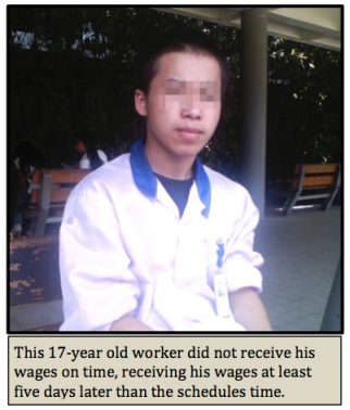 """An underage worker at Pegatron Shanghai, where new """"cheap"""" iPhone is being produced. Published in CLW's July 29, 2013 report."""