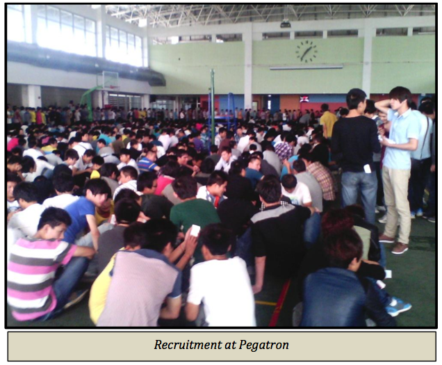 Hundreds of young people seek work at Pegatron Shanghai. Published in CLW's July 29, 2013 report.