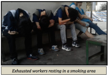 Young workers struggle to get through the day at Pegatron Shanghai. Published in CLW's July 29, 2013 report.